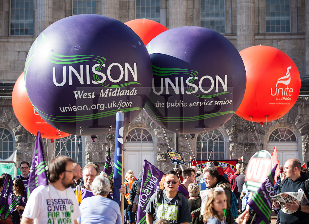 © Licensed to London News Pictures. 02/10/2016. Birmingham, UK. Protesters at the People's Assembly national demonstration against the policies of Britain's Conservative government. The Conservative Party conference begins today at the ICC in Birmingham and is the first under the leadership of Prime Minister Theresa May, who took over after David Cameron's resignation in July 2016. Photo credit: Rob Pinney/LNP