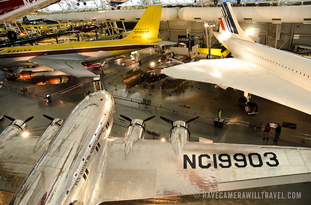 on display at the Smithsonian National Air and Space Museum's Udvar-Hazy Center, a large hangar facility at Chantilly, Virginia, next to Dulles Airport and just outside Washington DC. To the right of frame is part of an Air France Concord. To the left is a Boeing passenger jet.