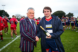 Rhodri Williams of Bristol Rugby is presented with the Barclays Man of the Match award by Jersey Reds after a bonus point win - Rogan/JMP - 28/10/2017 - RUGBY UNION - Stade Santander International - St Peter, Jersey - Jersey Reds v Bristol Rugby - Greene King IPA Championship.