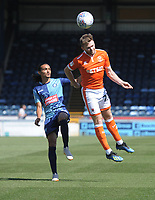 Blackpool's Oliver Turton under pressure from Wycombe Wanderers' Randell Williams<br /> <br /> Photographer Kevin Barnes/CameraSport<br /> <br /> The EFL Sky Bet League One - Wycombe Wanderers v Blackpool - Saturday 4th August 2018 - Adams Park - Wycombe<br /> <br /> World Copyright © 2018 CameraSport. All rights reserved. 43 Linden Ave. Countesthorpe. Leicester. England. LE8 5PG - Tel: +44 (0) 116 277 4147 - admin@camerasport.com - www.camerasport.com