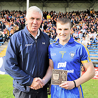 25 August 2012; Seadna Morey, Clare, is presented with the Bord Gáis Energy Man of the Match award by Ger Cunningham, Sports Ambassador with Bord Gáis Energy. Bord Gáis Energy GAA Hurling Under-21 All-Ireland Championship Semi-Final, Clare v Antrim, Semple Stadium, Thurles, Co. Tipperary. Picture credit: Diarmuid Greene / SPORTSFILE *** NO REPRODUCTION FEE ***