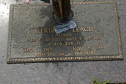 31 August 2017:   Veterans graves in Park Hill Cemetery in eastern McLean County.<br /> <br /> Merle W Leach Illinois TEC5 20 Field Artillery 4 INF DIV World War II Dec 1 1913  Nov 25 1944