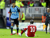 Fotball<br /> 13. August 2008<br /> Champions Leauge<br /> 3. kvalifiseringsrunde , 1 . kamp<br /> Brann - Olympique De Marseille 0 - 1<br /> Hatem Ben Arfa , Olympique De Marseille<br /> Njogu Demba-Nyrèn , Brann<br /> Foto : Astrid M. Nordhaug