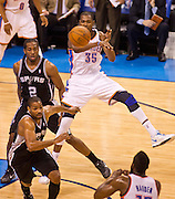 June 2, 2012; Oklahoma City, OK, USA; San Antonio Spurs forward Kawhi Leonard (2) and guard Gary Neal (14) look on as Oklahoma City Thunder forward Devin Durant (35) makes a pass to guard James Harden (13) during a playoff game  at Chesapeake Energy Arena.  Thunder defeated the Spurs 109-103 Mandatory Credit: Beth Hall-US PRESSWIRE