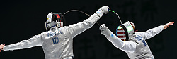 WUXI, July 27, 2018  Daniele Garozzo (L) of Italy fights with Race Imboden of the US during the men's foil team final between Italy and the United States at the Fencing World Championships in Wuxi, east China's Jiangsu Province, July 27, 2018. Italy beat US 45-34 and claimed the title of the event. (Credit Image: © Li Bo/Xinhua via ZUMA Wire)