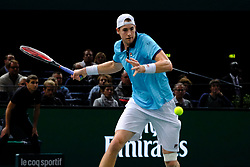 November 3, 2017 - Paris, France - The US player JOHN ISNER returns the ball to Argentine player J. MARTIN DEL PO during the tournament Rolex Paris Master at Paris AccorHotel Arena Stadium in Paris France.John Isner won 6-4 6-7 6-4. (Credit Image: © Pierre Stevenin via ZUMA Wire)