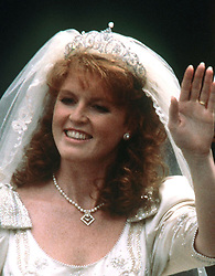 File photo dated 23/07/1986 of Sarah Ferguson leaving Westminster Abbey in London after her wedding ceremony wearing the York diamond tiara as Princess Eugenie may follow in the footsteps of her mother and wear the diamond tiara on her wedding day.