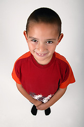 Wide angle portrait of young boy,