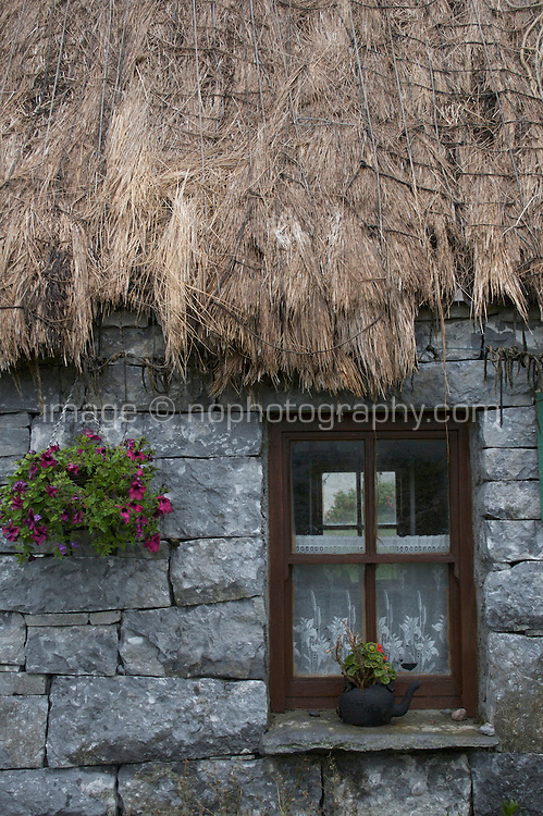 Thatched roof on a house on Inis Oirr the Aran Islands Galway Ireland