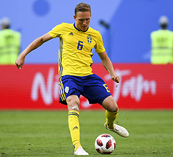 July 3, 2018 - Saint Petersburg, Russia - Ludwig Augustinsson of Sweden during the 2018 FIFA World Cup Round of 16 match between Sweden and Switzerland at Sankt Petersburg Stadium in Sankt Petersburg, Russia on July 3, 2018  (Credit Image: © Andrew Surma/NurPhoto via ZUMA Press)