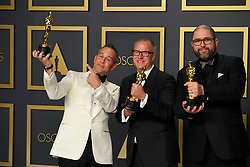 February 9, 2020, Los Angeles, California, USA: JOSH COOLEY, MARK NIELSEN AND JONAS RIVERA in the Press Room during the 92nd Academy Awards, presented by the Academy of Motion Picture Arts and Sciences (AMPAS), at the Dolby Theatre in Hollywood. (Credit Image: © Kevin Sullivan via ZUMA Wire)