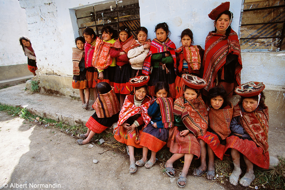 Young girls in traditional dress at school