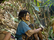 An elderly Yumbri ethnic minority woman sitting at the groups camp in the forests of the Nam Poui NPA (National Protected Area), Sayaboury province, Lao PDR. The Yumbri otherwise known as Yellow Leaves, Tong Luang or Mlabri are the last remaining hunter-gatherer Austroasiatic-speaking community living in the primary forests and river basins of the Nam Poui region in Sayaboury province. They migrate by group in the forest seeking edible natural resources. They are Laos' smallest ethnic group with estimates of the numbers of Yumbri remaining varying between 21 and 30 individuals.