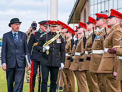 Pictured: Yeomanry receive Freedom of East Lothian, Dunbar, East Lothian, Scotland, United Kingdom, 06 July 2019. The historic Lothians and Border regiment is granted Freedom of East Lothian by Councillor Jim Goodfellow, East Lothian Council's Armed Forces Champion, which is accepted by Major S J Vine. The Yeomanry's links with the county date back to 1797. Councillor Goodfellow inpects the regiment.<br /> <br /> Sally Anderson | EdinburghElitemedia.co.uk