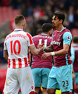 Marko Arnautovic of Stoke shakes hands with Jose Fonte of West Ham. Premier league match, Stoke City v West Ham Utd at the Bet365 Stadium in Stoke on Trent, Staffs on Saturday 29th April 2017.<br /> pic by Bradley Collyer, Andrew Orchard sports photography.