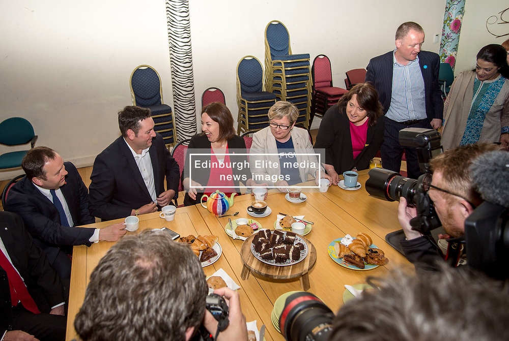 Scottish Labour leader Kezia Dugdale was joined by politicians from all sides, including Joanna Cherry from the SNP, Christine Jardine from the Liberal Democrats and the Tories' Miles Briggs at the campaign truce at the Serenity Cafe in Edinburgh, in memory of the murdered Labour MP Jo Cox. <br /> <br /> © Dave Johnston/ EEm