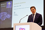 London, United Kingdom - 12 September 2019<br /> Johnny Mercer MP, Parliamentary Under-Secretary of State for Defence People and Veterans for the UK Government gives a keynote address speech and answers questions from the audience at DSEI 2019 security, defence and arms fair at ExCeL London exhibition centre.<br /> (photo by: EQUINOXFEATURES.COM)<br /> Picture Data:<br /> Photographer: Equinox Features<br /> Copyright: ©2019 Equinox Licensing Ltd. +443700 780000<br /> Contact: Equinox Features<br /> Date Taken: 20190912<br /> Time Taken: 10065076<br /> www.newspics.com
