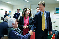 © licensed to London News Pictures. London, UK 06/05/2014. Nick Clegg meets members of the Cypriot Community Centre in north London as he launches Liberal Democrat party's 2014 local election campaign on Tuesday, May 6, 2014. Photo credit: Tolga Akmen/LNP