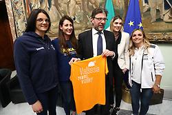 SERENA ORTOLANI VALENTINA TIROZZI GIANCARLO GIORGETTI FRANCESCA PICCININI E GIULIA LEONARDI<br /> PALLAVOLO CELEBRAZIONE COPPE EUROPEE VOLLEY 2018-2019 VINTE DALLE SQUADRE ITALIANE A PALAZZO CHIGI A ROMA<br /> ROMA 22-05-2019<br /> FOTO FILIPPO RUBIN
