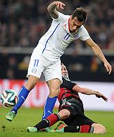 Fotball<br /> Tyskland v Chile<br /> 05.03.2014<br /> Foto: Witters/Digitalsport<br /> NORWAY ONLY<br /> <br /> v.l. Eduardo Vargas, Kevin Grosskreutz (Deutschland)<br /> Fussball Testspiel, Deutschland - Chile 1:0