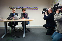 © London News Pictures. 01/03/2013 . Eastleigh, UK.  UKIP (UK INdependence Part) leader NIGEL FARAGE (Left) and  UKIP candidate, DIANE JAMES (right) speaking at a media conference after the party came second in the Eastleigh by-election. Photo credit : Ben Cawthra/LNP