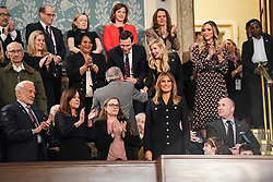 FEBRUARY 5, 2019 - WASHINGTON, DC: First Lady Melania Trump in the First Lady's box ahead of the State of the Union address, with Vice President Mike Pence and Speaker of the House Nancy Pelosi, at the Capitol in Washington, DC, USA on February 5, 2019. Photo by Doug Mills/Pool via CNP/ABACAPRESS.COM
