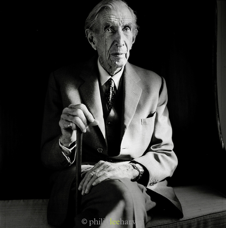 Sir Wilfred Thesiger, the renowned British explorer and travel writer, photographed before his death in 2003 in the UK