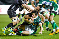 Joaquin Riera (Benetton Treviso) tackled by Jamie Roberts (Dragons) during the Guinness Pro 14 rugby union match between Benetton Treviso and Dragons Rugby on November 29, 2020 at the Monigo stadium in Treviso, Italy - Photo Ettore Griffoni / LM / ProSportsImages / DPPI