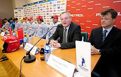 Aleksander svetelsek, general manager of Petrol and Matija Vojsk, director of SZS at press conference of Men Alpine Ski team and sponsor Petrol, on December 8, 2010 in Petrol, Ljubljana, Slovenia. (Photo By Vid Ponikvar / Sportida.com)