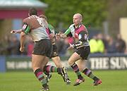 Twickenham, Surrey. England, UK.,02.05.2003, [L] Tony DIPROSE , [R] Paul BURKE,  Zurich Premiership Rugby match, Harlequins v Northampton Saints, played at the Stoop Memorial Ground, [Mandatory Credit:Peter Spurrier/ Intersport Images]