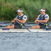 Chris Harris & John Storey New Zealand elite  Mens Double Scull race the B final <br /> <br /> Racing the Finals at FISA World Rowing Cup III on Sunday 14 July 2019 at the Willem Alexander Baan,  Zevenhuizen, Rotterdam, Netherlands. © Copyright photo Steve McArthur / www.photosport.nz