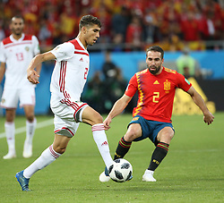 KALININGRAD, June 25, 2018  Dani Carvajal (R) of Spain vies with Achraf Hakimi of Morocco during the 2018 FIFA World Cup Group B match between Spain and Morocco in Kaliningrad, Russia, June 25, 2018. (Credit Image: © Li Ming/Xinhua via ZUMA Wire)