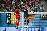 Nacer Chadli of Belgium and Kylian Mbappe of France during the 2018 FIFA World Cup Russia, Semi Final football match between France and Belgium on July 10, 2018 at Saint Petersburg Stadium in Saint Petersburg, Russia - Photo Thiago Bernardes / FramePhoto / ProSportsImages / DPPI