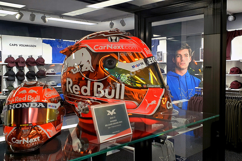 Spa-Francorchamps special edition helmet inside the Max Verstappen Store (Red Bull-Honda) in Swalmen near Roermond before the 2021 Turkish Grand Prix at Istanbul Park. Photo: Grand Prix Photo/ Michael Stirnberg