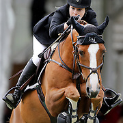 NORTH SALEM, NEW YORK - May 15: Katherine Dinan, USA, riding Nougat Du Vallet, in action during The $50,000 Old Salem Farm Grand Prix presented by The Kincade Group at the Old Salem Farm Spring Horse Show on May 15, 2016 in North Salem. (Photo by Tim Clayton/Corbis via Getty Images)
