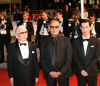 Actor, Tadashi Okuno, Director and scriptwriter Abbas Kiarostami, Actor, Ryo Kase at the Like Someone In Love gala screening at the 65th Cannes Film Festival France. Monday 21st May 2012 in Cannes Film Festival, France.