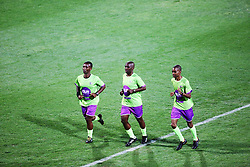 02102018 (Durban) Team of referes Elphas Sithole, Phelelani Ndaba and Lalelani Mngadi warm up before the game when AmaZulu FC takes head on their KwaZulu-Natal rivals Maritzburg United in an Absa Premiership match at the King Zwelithini Stadium in Durban on Tuesday night. Usuthu extended their winless run to three league games when they lost 2-0 to Kaizer Chiefs away in their previous match over a week ago and after losing 6 points.<br /> Picture: Motshwari Mofokeng/African News Agency (ANA)