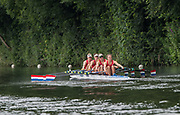 Henley-on-Thames. United Kingdom.  <br /> Princess Grace Challenge Cup. Hollandia Roeiclub, NED W4X. Bow, L SCHEENARD, O. van ROOIJEN, A. SOUWER and N. BEUKERS.<br /> 2017 Henley Royal Regatta, Henley Reach, River Thames. <br /> <br /> 11:30:21  Saturday  01/07/2017   <br /> <br /> [Mandatory Credit. Peter SPURRIER/Intersport Images.