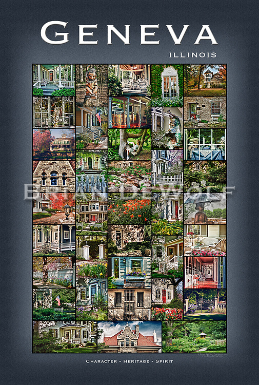 """24"""" x 36""""  Scenes of Geneva, Illinois porches, doors, objects, yards.  This poster is  individuallly printed, to order,  on luster poster-weight paper. Price is $50 and can be paid by mail or by Paypal. Order using the Contact Form on this website."""
