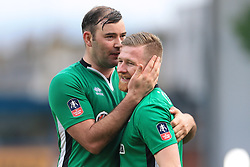 18th February 2017 - FA Cup - 5th Round - Burnley v Lincoln City - Matt Rhead of Lincoln (L) and teammate Alan Power celebrate victory - Photo: Simon Stacpoole / Offside.