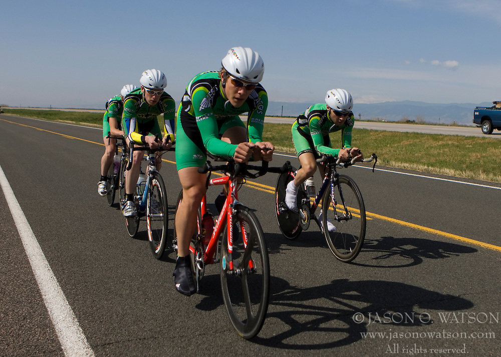 The Dartmouth College team of Jon Awerbuch, Toby Marzot, Eric Schildge, and Kevin Wolfson competes in the men's division 2 race.  The 2008 USA Cycling Collegiate National Championships Team Time Trial event was held near Wellington, CO on May 9, 2008.  Teams of 3 or 4 riders raced over a 20km out and back course that ran along a service road to Interstate 25.