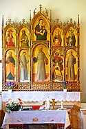Church of the Santa Eufemia monastery in Kampor. Late Baroque style polyptych by Venetian artist  Antonio and Bartolomeo Vivarini 1458. Rab Island, Croatia .<br /> <br /> Visit our MEDIEVAL PHOTO COLLECTIONS for more   photos  to download or buy as prints https://funkystock.photoshelter.com/gallery-collection/Medieval-Middle-Ages-Historic-Places-Arcaeological-Sites-Pictures-Images-of/C0000B5ZA54_WD0s