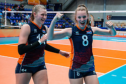 Elles Dambrink of Netherlands, Jette Kuipers of Netherlands celebrate after Netherlands - Argentina, FIVB U20 Women's World Championship on July 10, 2021 in Rotterdam