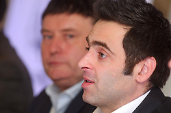 © Licensed to London News Pictures. 26/02/2013 London, UK. Reigning world snooker champion Ronnie O'Sullivan announces his return to snooker at The London Hilton Metropole Hotel. The 37 year old pulled out of the 2012-13 season due to 'personal reasons' after playing just one match. He plans to defend his title with his first match at The Crucible, Sheffield in April this year..Photo credit : Simon Jacobs/LNP