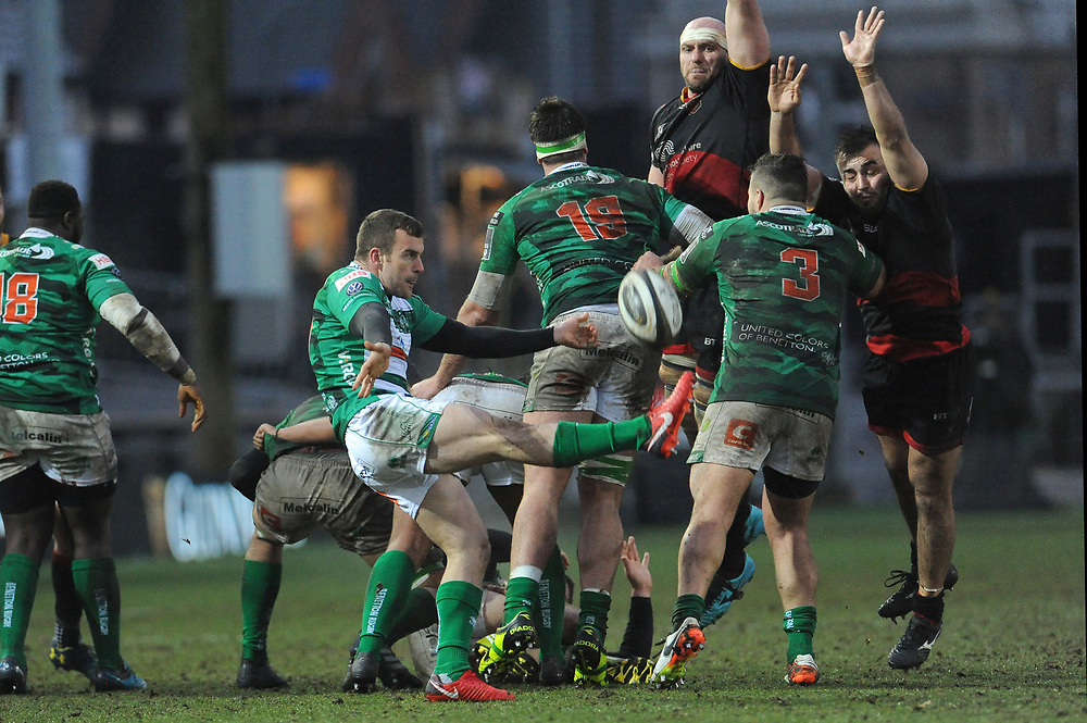 Benetton Rugby's Giorgio Bronzini clears the danger <br /> <br /> Photographer Ian Cook/CameraSport<br /> <br /> Guinness Pro14 Round 15 - Dragons v Benetton Rugby - Sunday 18th February 2018 - Rodney Parade - Newport<br /> <br /> World Copyright © 2018 CameraSport. All rights reserved. 43 Linden Ave. Countesthorpe. Leicester. England. LE8 5PG - Tel: +44 (0) 116 277 4147 - admin@camerasport.com - www.camerasport.com