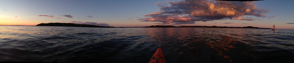 Panorama of Golden Hour Clouds and Harbor Bell, Castine, Maine, US