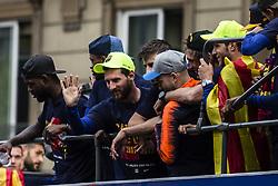 April 30, 2018 - Barcelona, Catalonia, Spain - Leo Messi during the FC Barcelona Victory Parade at the streets of Barcelona on 30 of April of 2018 in Barcelona. (Credit Image: © Xavier Bonilla/NurPhoto via ZUMA Press)