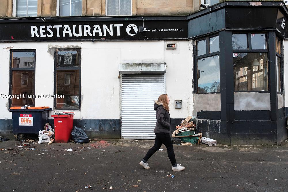 Disused restaurant in Govanhill district of Glasgow, Scotland, United Kingdom