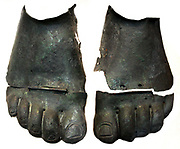 Pair of bronze foot-guards Greek or Italian, about 520-480BC From Ruvo. Few examples of foot-guards survive; they may have proved too cumbersome to be of practical benefit.