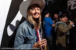 Canadian moto-journalist Becky Goebel at the Born Free pre-party and People's Champ finals at Cooks Corner before the big show. Trabuco Canyon, CA, USA. Friday, June 21, 2019. Photography ©2019 Michael Lichter.